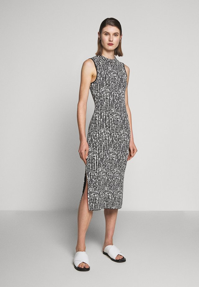 DOT SLEEVELESS DRESS - Sukienka etui - black/ecru