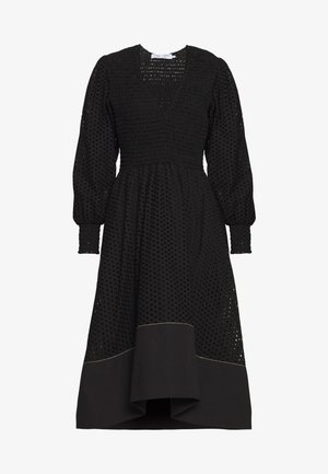 LONG SLEEVE SMOCKED TOP DRESS - Kjole - black