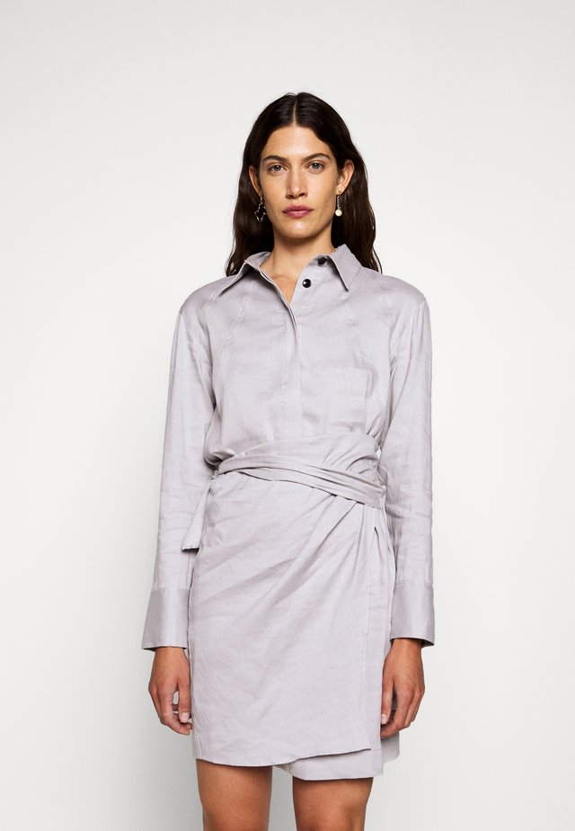 BLEND LONG SLEEVE WRAP DRESS - Shirt dress - grey