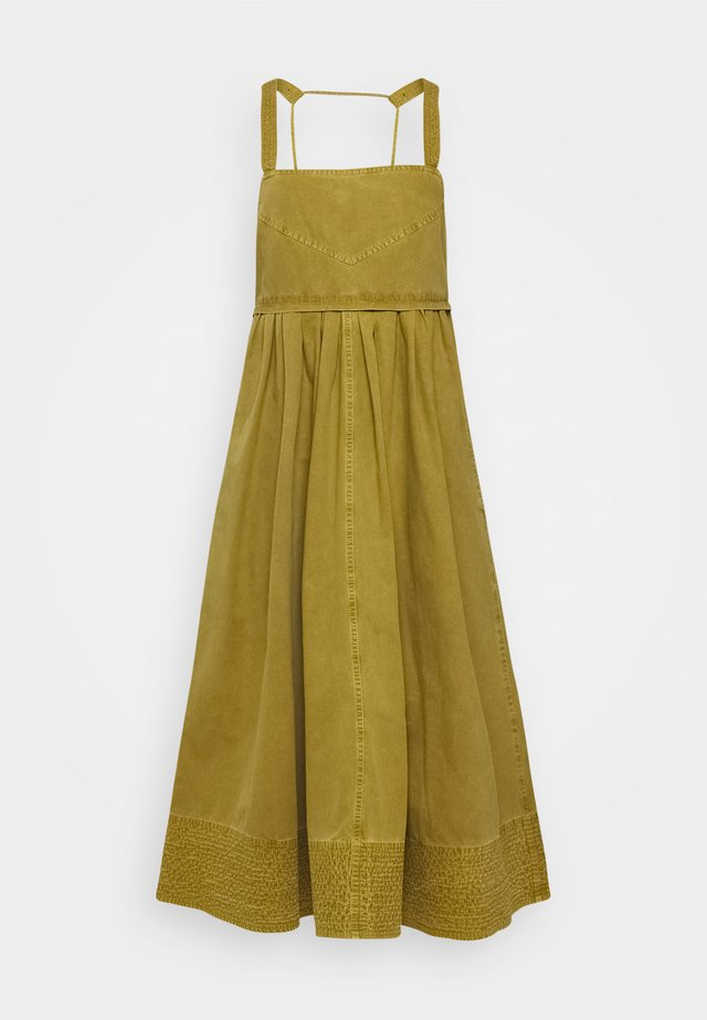 WASHED APRON DRESS - Day dress - moss