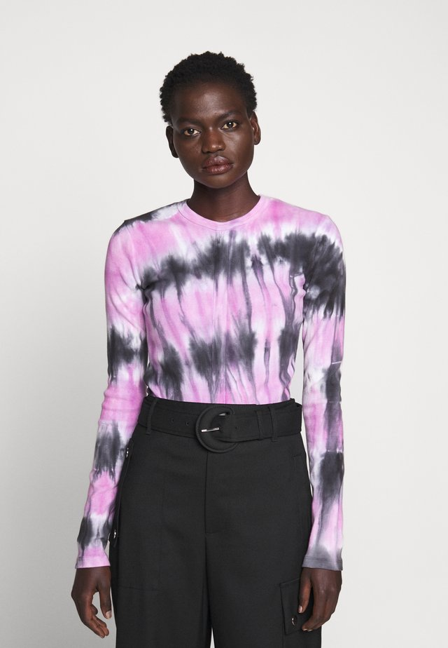 TIE DYE TEE - Long sleeved top - black/mauve