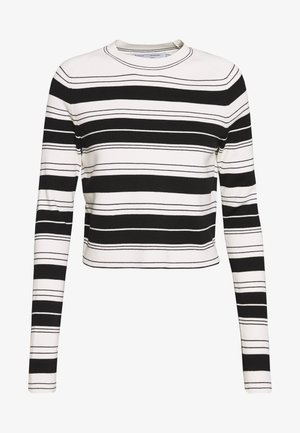 COMPACT STRIPE CROPPED CREW NECK - Sweter - black/off white