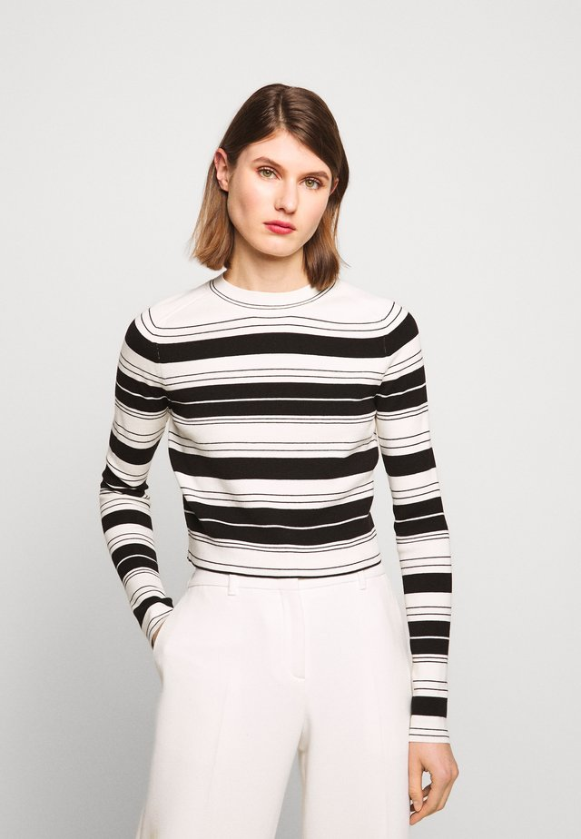 COMPACT STRIPE CROPPED CREW NECK - Pullover - black/off white