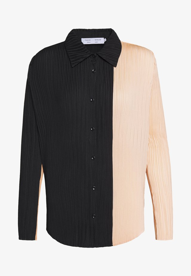 PLISSE BUTTON FRONT - Button-down blouse - cinnamon/peach/black