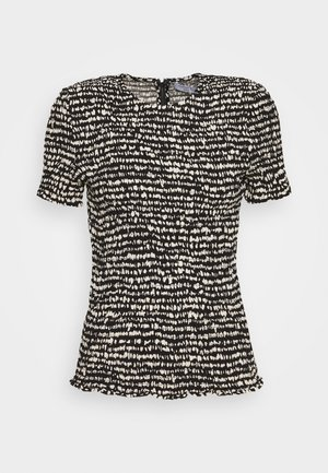 PRINTED GEORGETTE SHORT SLEEVE SMOCKED - Blusa - black/ecru