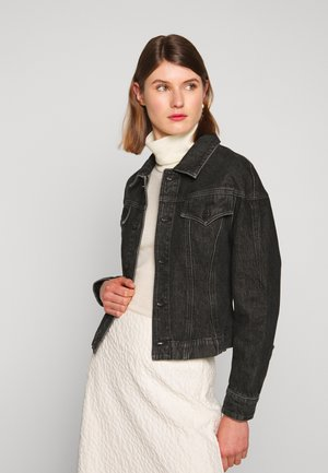 CINCHED JACKET - Spijkerjas - rinsed black