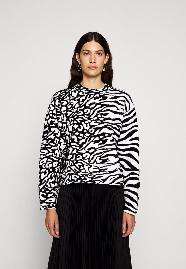 ANIMAL CROPPED - Strickpullover - white/black