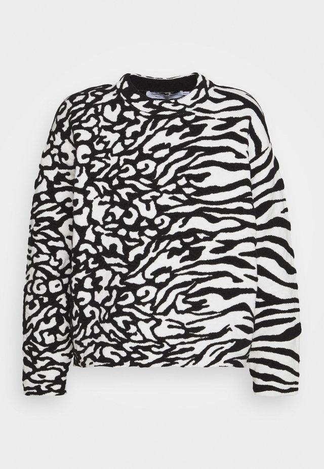 ANIMAL CROPPED - Sweter - white/black