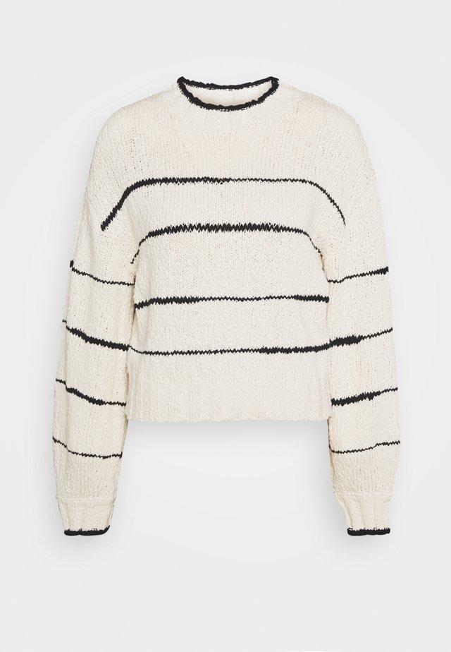 IRREGULAR STRIPE - Stickad tröja - cream/black