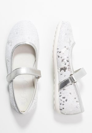 Ankle strap ballet pumps - bianco/argento