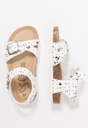 Sandaalit nilkkaremmillä - bianco/nero/rosa