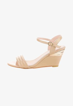 TELANA - Wedge sandals - beige