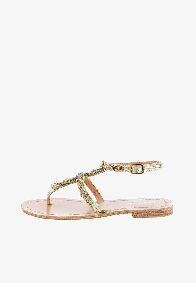REZZANO - T-bar sandals - złoty