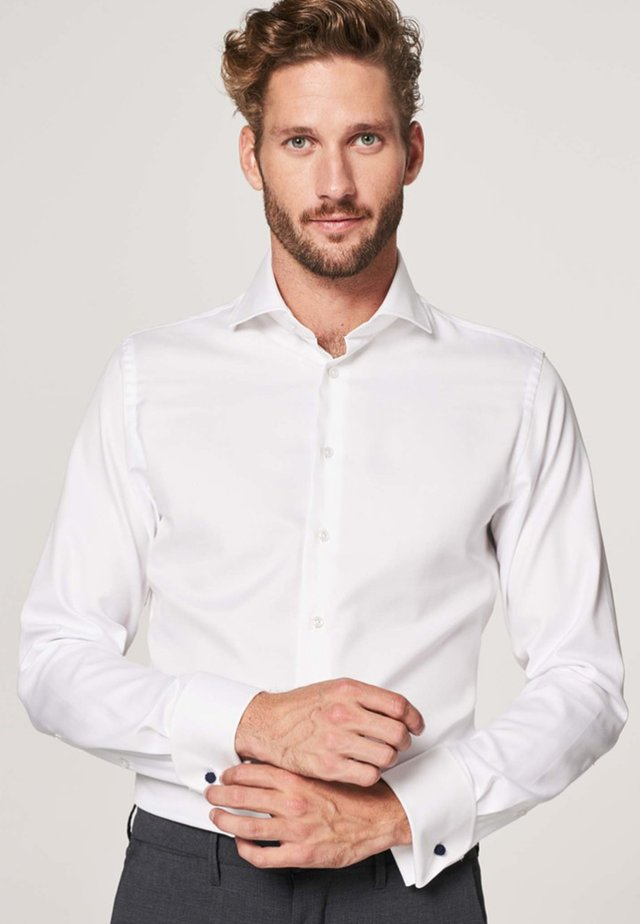 Slim fit mit doppel manschette - Formal shirt - wit