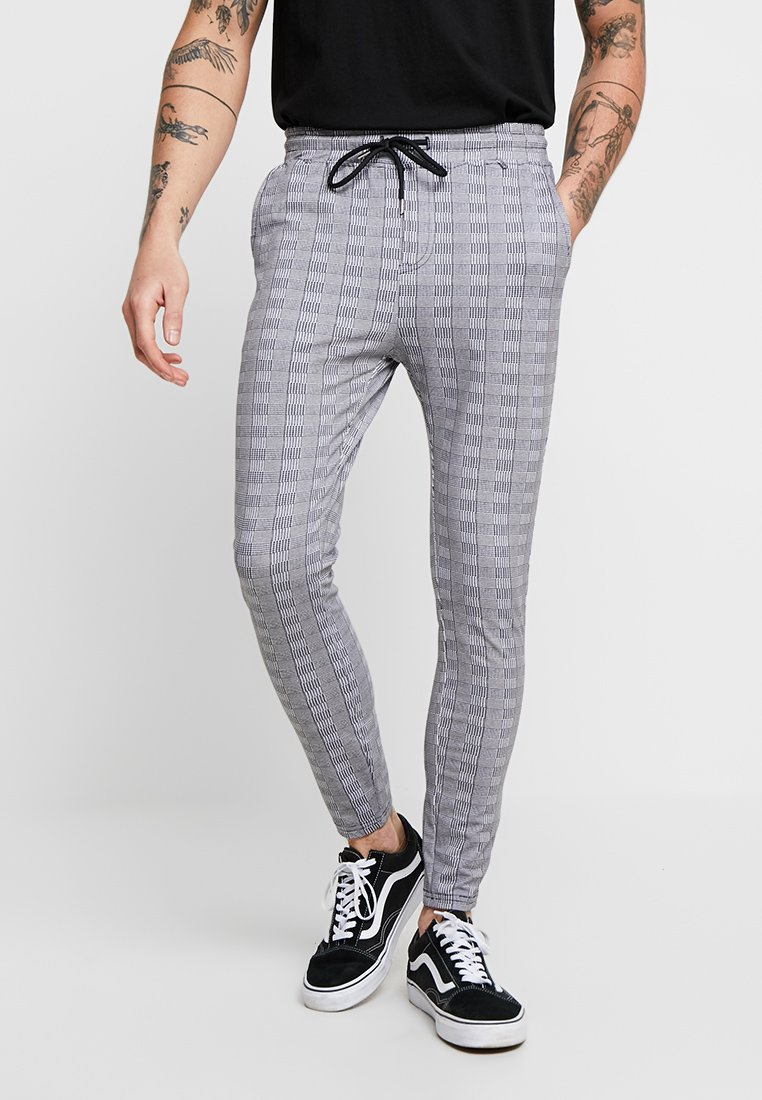 Project X Paris - CHECK PANT - Tracksuit bottoms - white/black