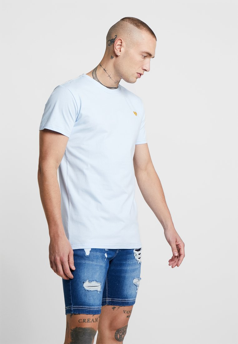 Project X Paris - HEART EMBROIDER TEE - Basic T-shirt - light blue