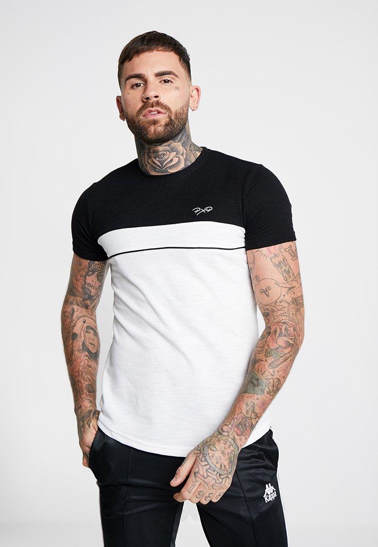 Project X Paris - TEXTURE BLOCK TEE - Basic T-shirt - white/black