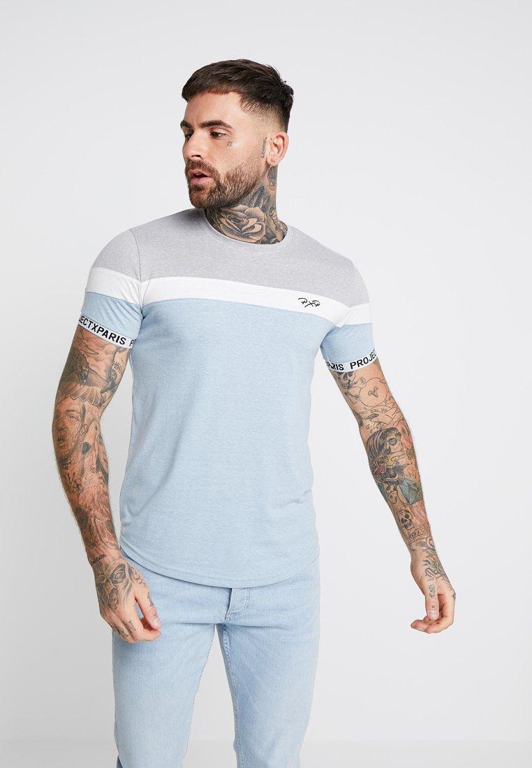 Project X Paris - TEXTURE BLOCK TEE - Basic T-shirt - light blue