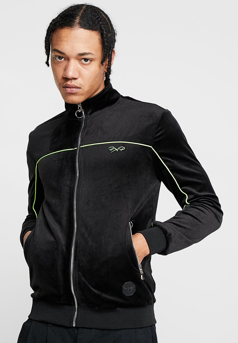 Project X Paris - ZIP UP JACKET WITH FLUORESCENT TRIM - Zip-up hoodie - black