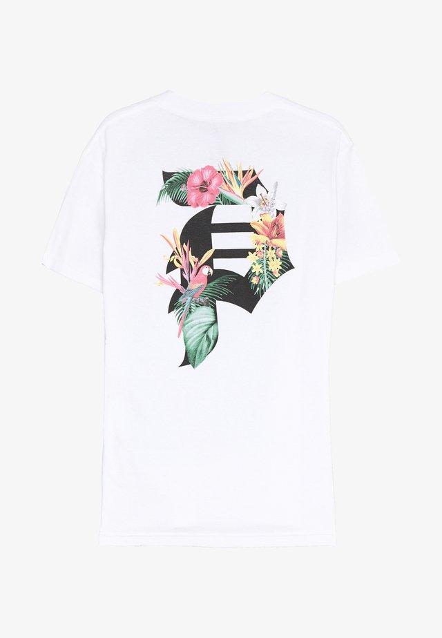 DIRT TROPICS TEE - T-shirt z nadrukiem - white