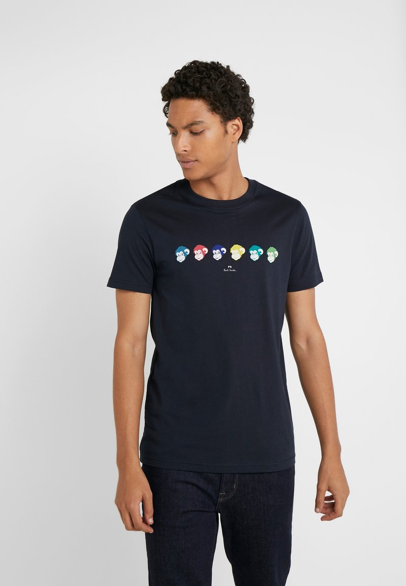 PS Paul Smith - SLIM FIT MONKIES - T-Shirt print - navy
