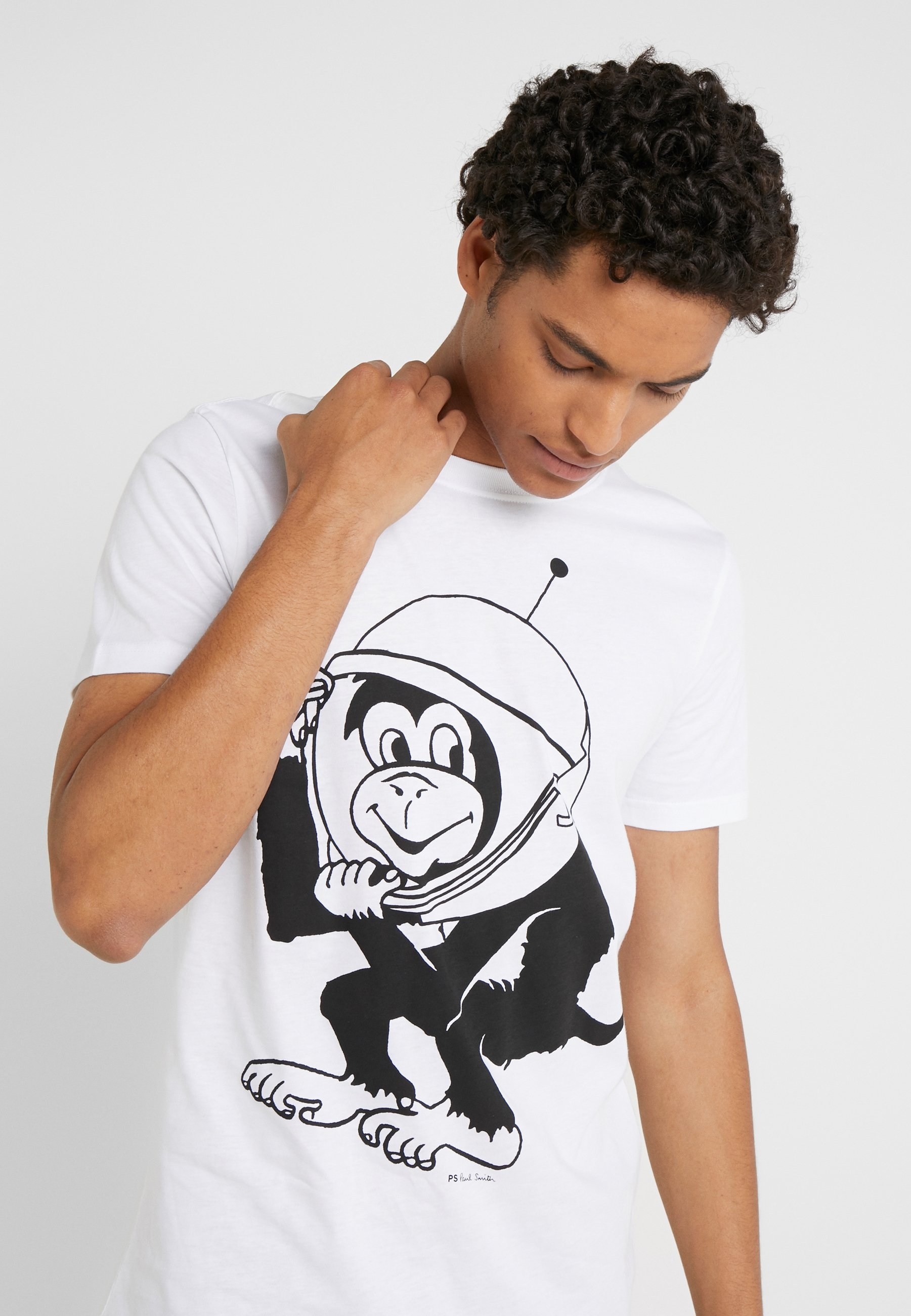 Ps Paul Smith Lim Fit Space Monkey - T-shirt Med Print White