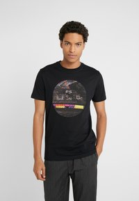 PS Paul Smith - SLIM FIT INTERFEARENCE - T-shirt z nadrukiem - black - 0