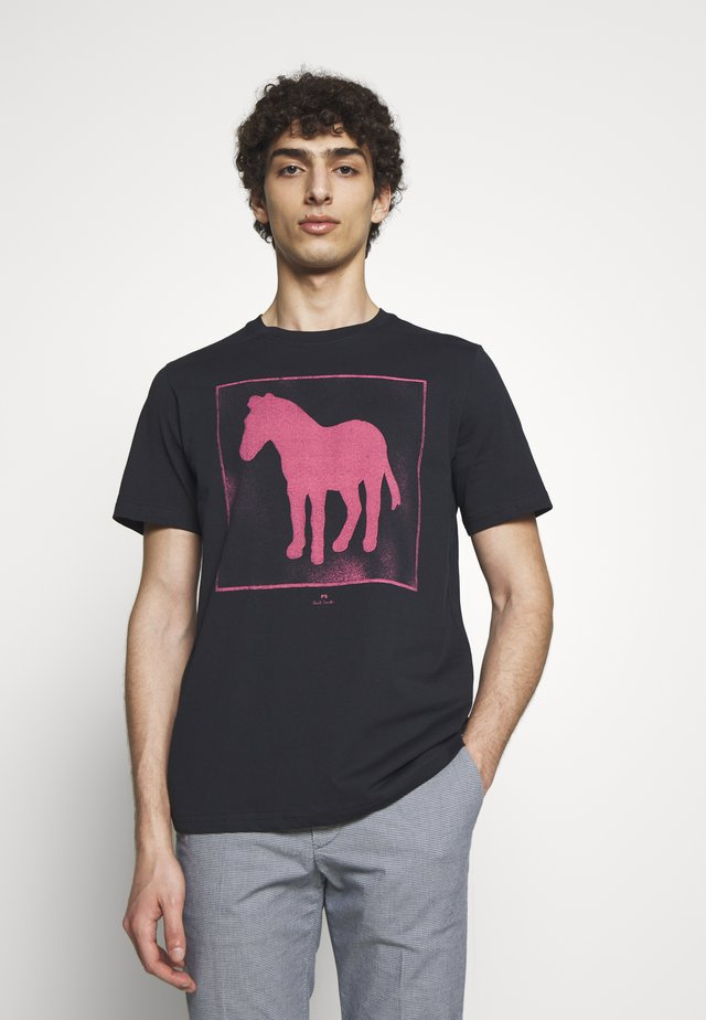 SPRAY ZEBRA - Print T-shirt - navy