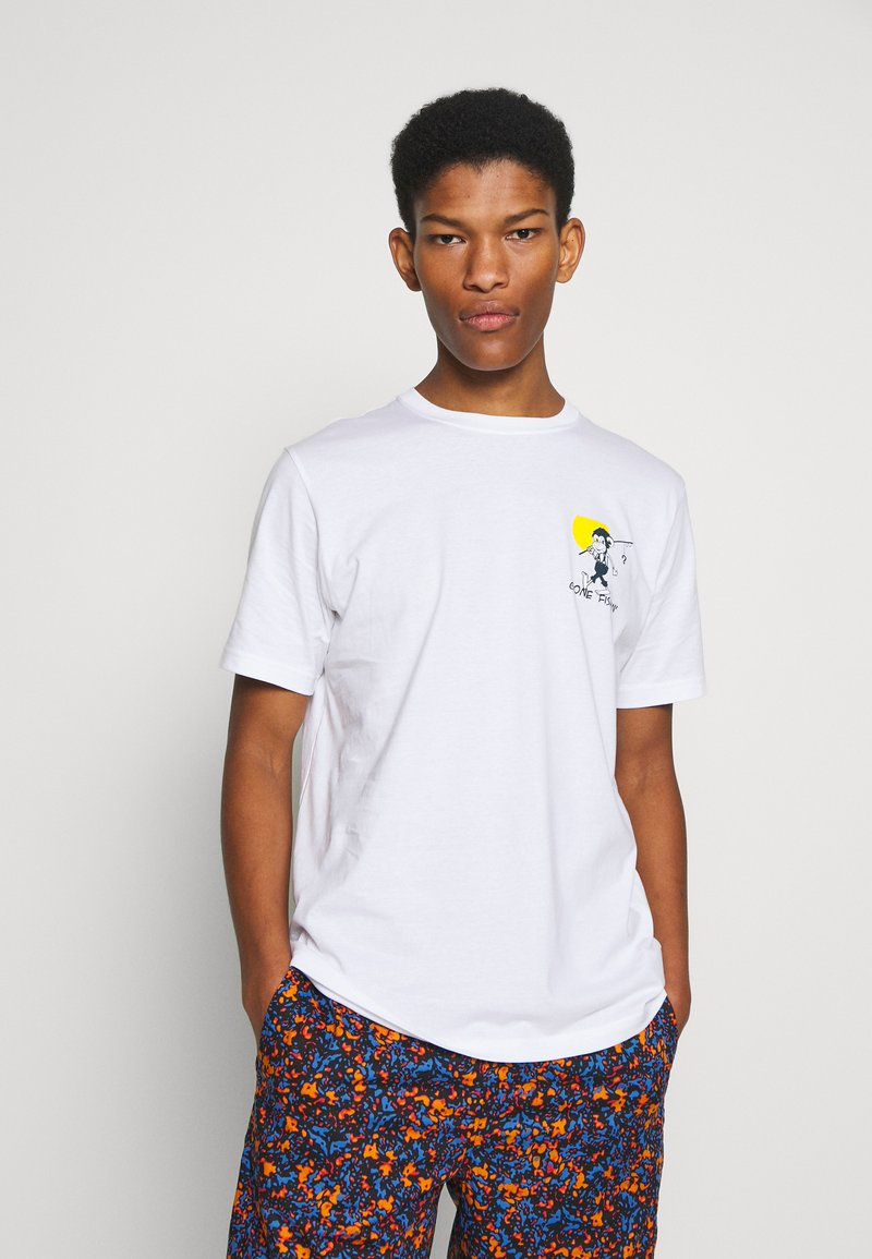 PS Paul Smith - MENS REG FIT GONE FISHING - T-shirts med print - white