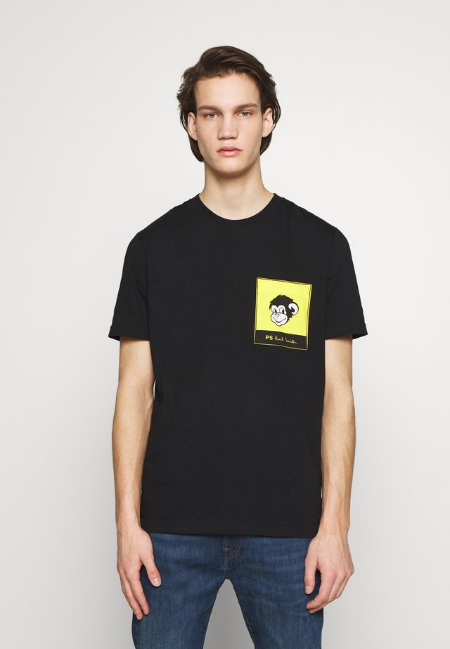 WITH POCKET - Print T-shirt - black