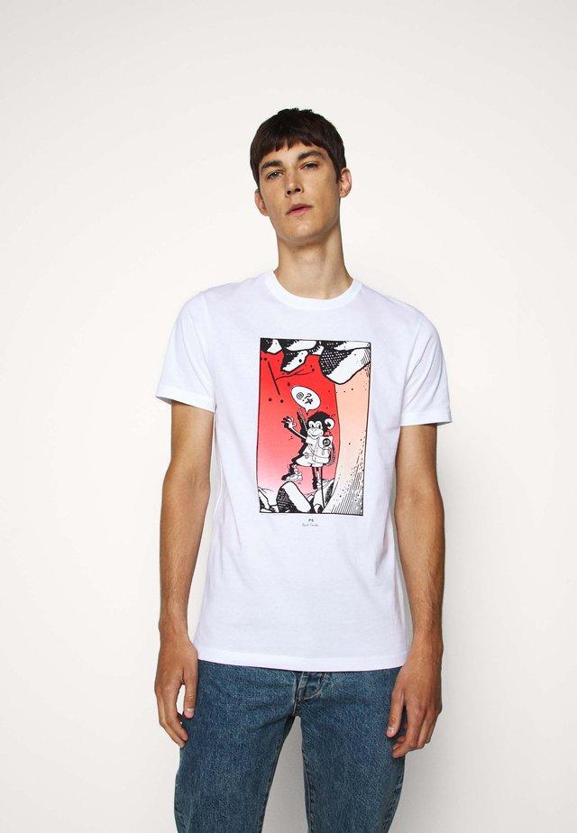 MENS SLIM FIT BOLT JUJU - T-shirt z nadrukiem - white