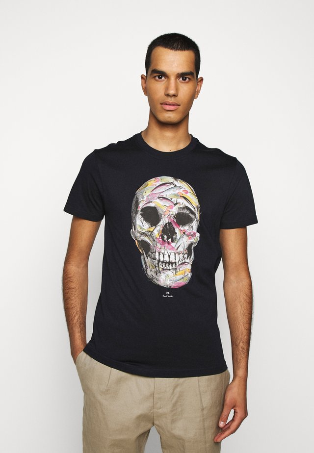 MENS SLIM FIT SKULL - Printtipaita - dark blue