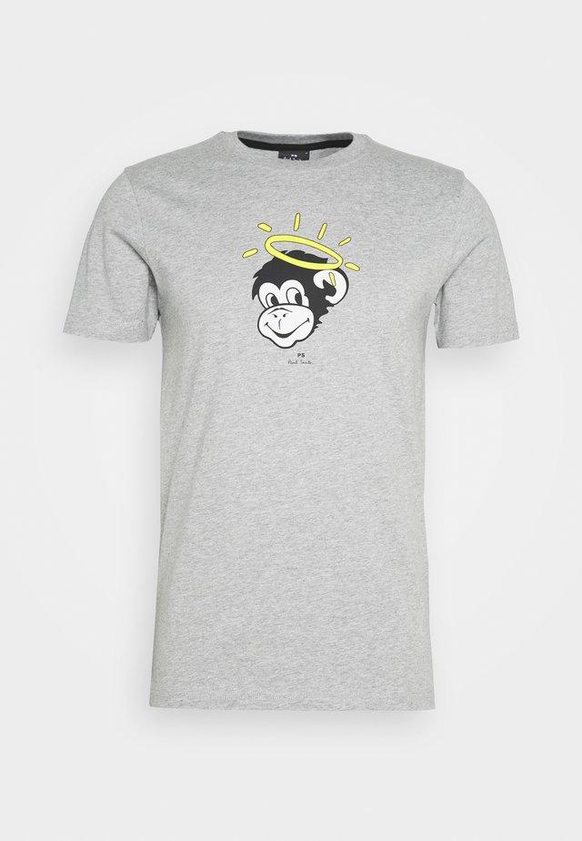 MENS SLIM FIT MONKEY HALO - T-shirt z nadrukiem - mottled grey