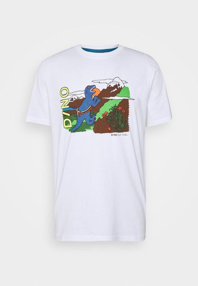 MENS DINO CLIMB - T-shirt z nadrukiem - white