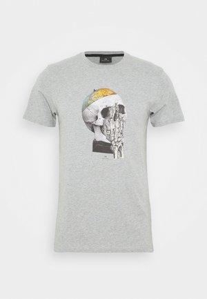 MENS SLIM FIT GLOBE SKULL - T-shirt con stampa - mottled grey