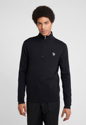 ZIP NECK ZEBRA - Stickad tröja - black