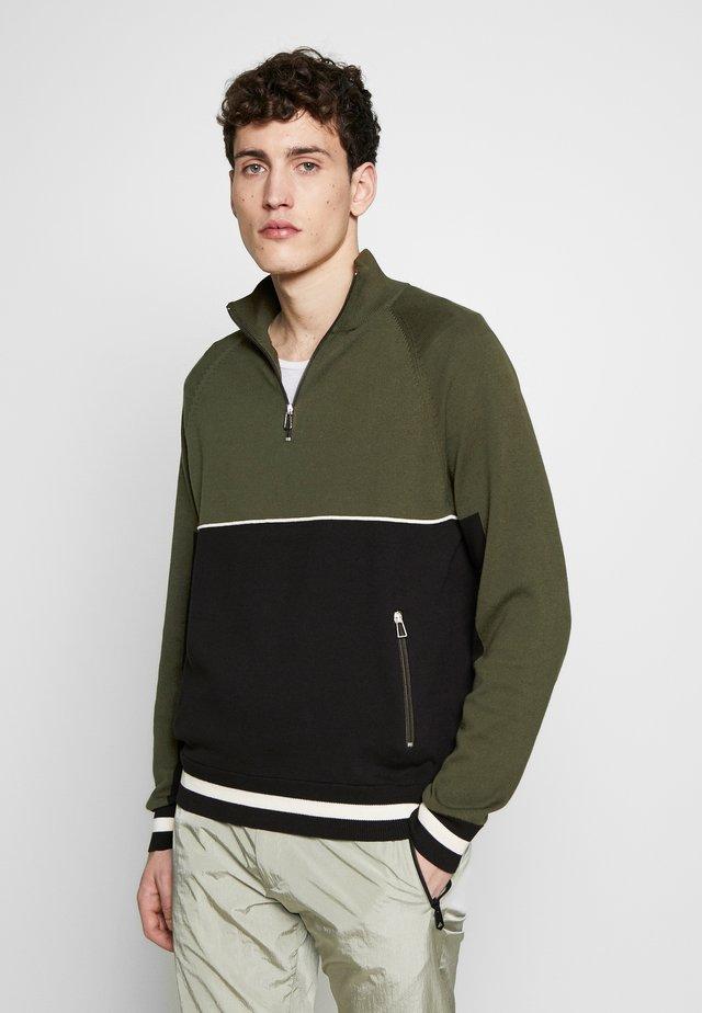 MENS ZIP NECK - Strickpullover - dark green