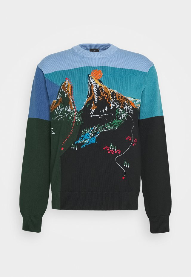 MENS PULLOVER CREW NECK - Strikpullover /Striktrøjer - blue/multi-coloured