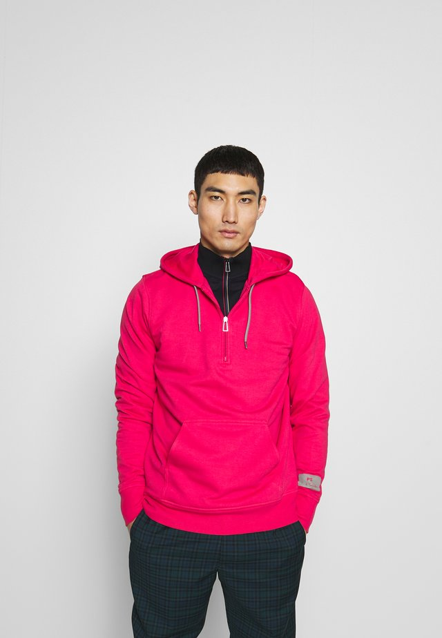 REGULAR FIT HALF ZIP HOODIE - Jersey con capucha - pink