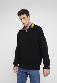 Paul Smith - GENTS ZIP COLLAR TOP - Strickpullover - black - 0