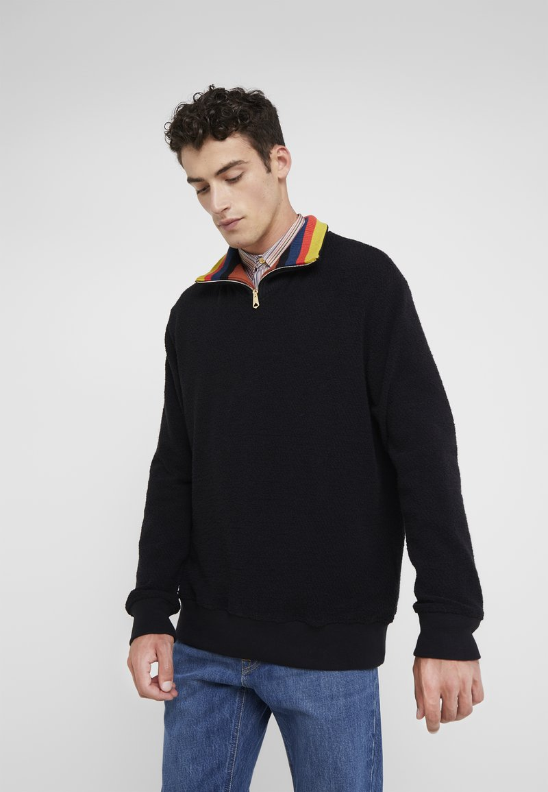 Paul Smith - GENTS ZIP COLLAR TOP - Strickpullover - black
