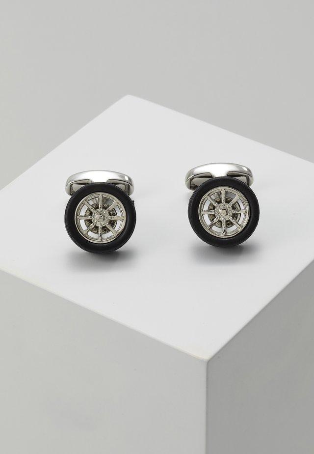 MEN CUFFLINK WHEEL - Manschettenknopf - silver-coloured/black