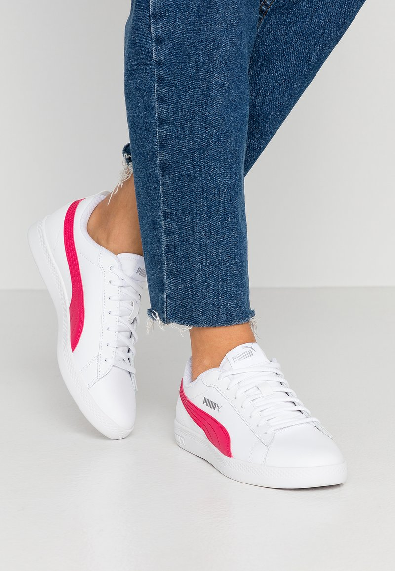 Puma - SMASH - Trainers - white/bright rose/silver