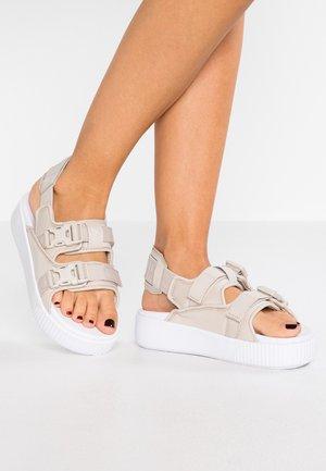 PLATFORM SLIDE  - Platform sandals - silver gray/white