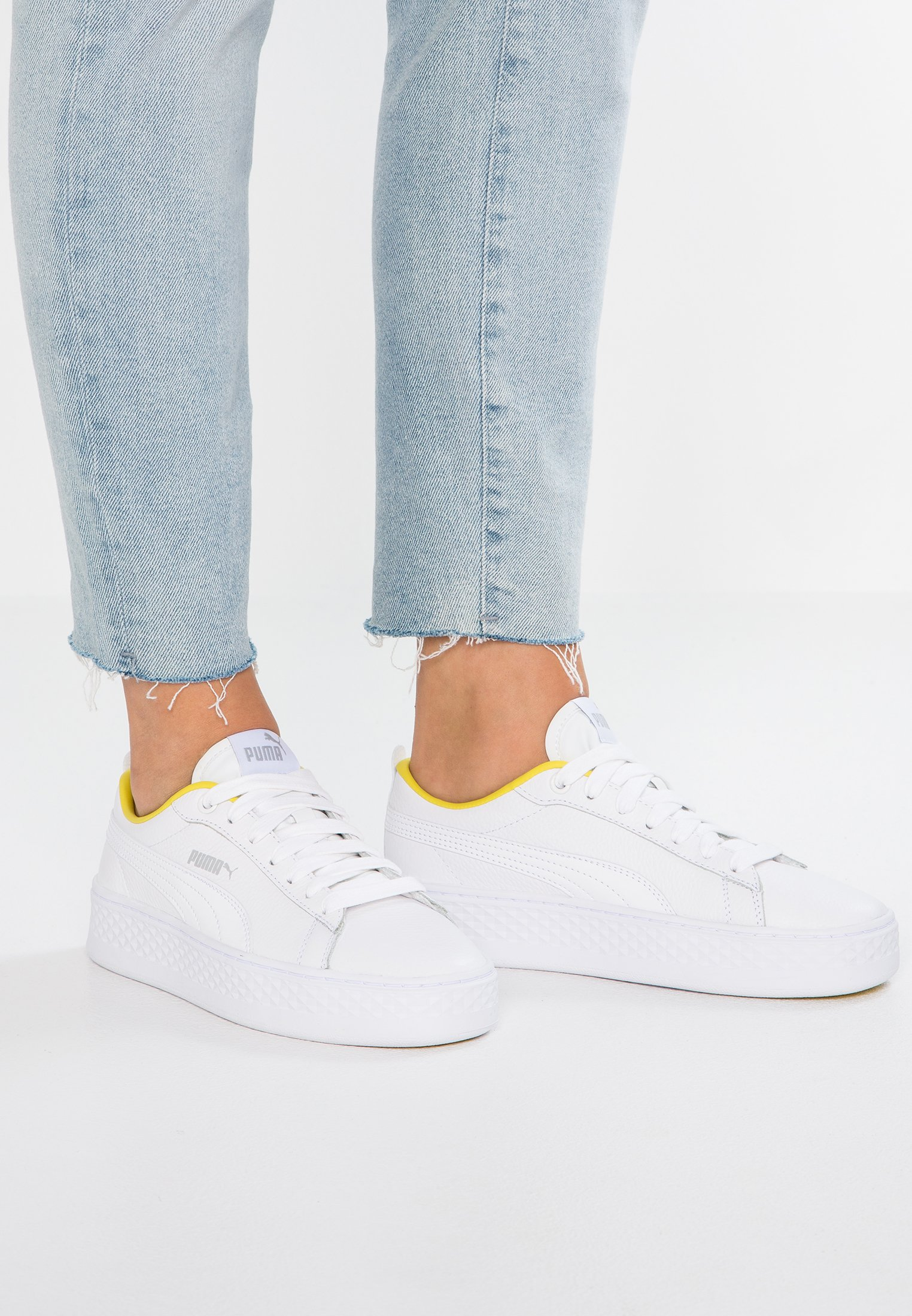 SMASH PLATFORM TRAILBLAZER - Sneakers laag - white/silver/blazing yellow