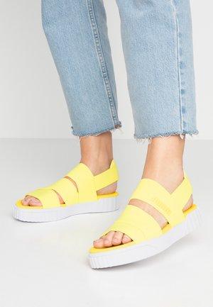 CALI X SG - Platform sandals - soft fluo yellow/white