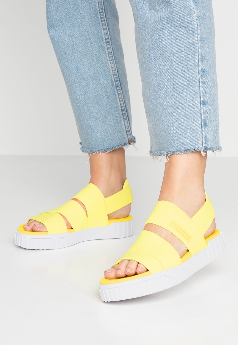 Puma - CALI X SG - Platform sandals - soft fluo yellow/white