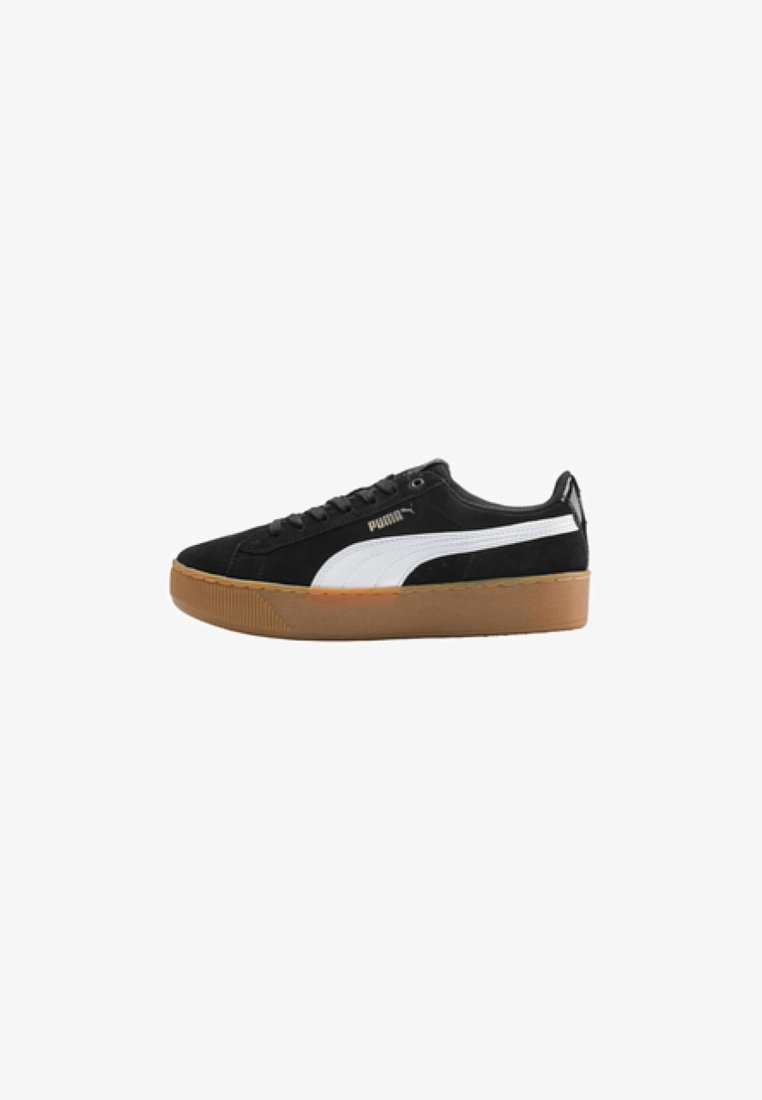 Puma - VIKKY PLATFORM - Trainers - black/white/metallic gold