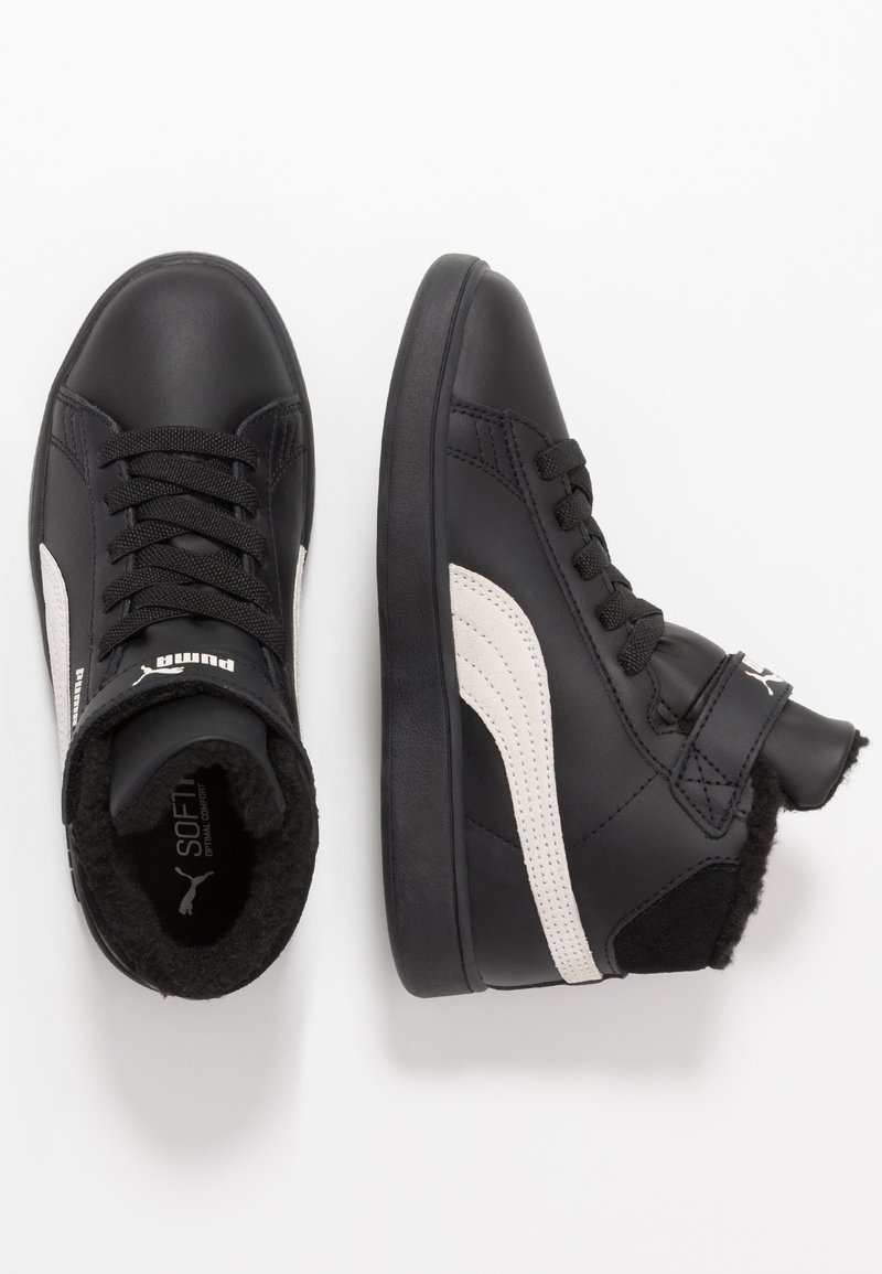 Puma - SMASH MID - Korkeavartiset tennarit - black/whisper white