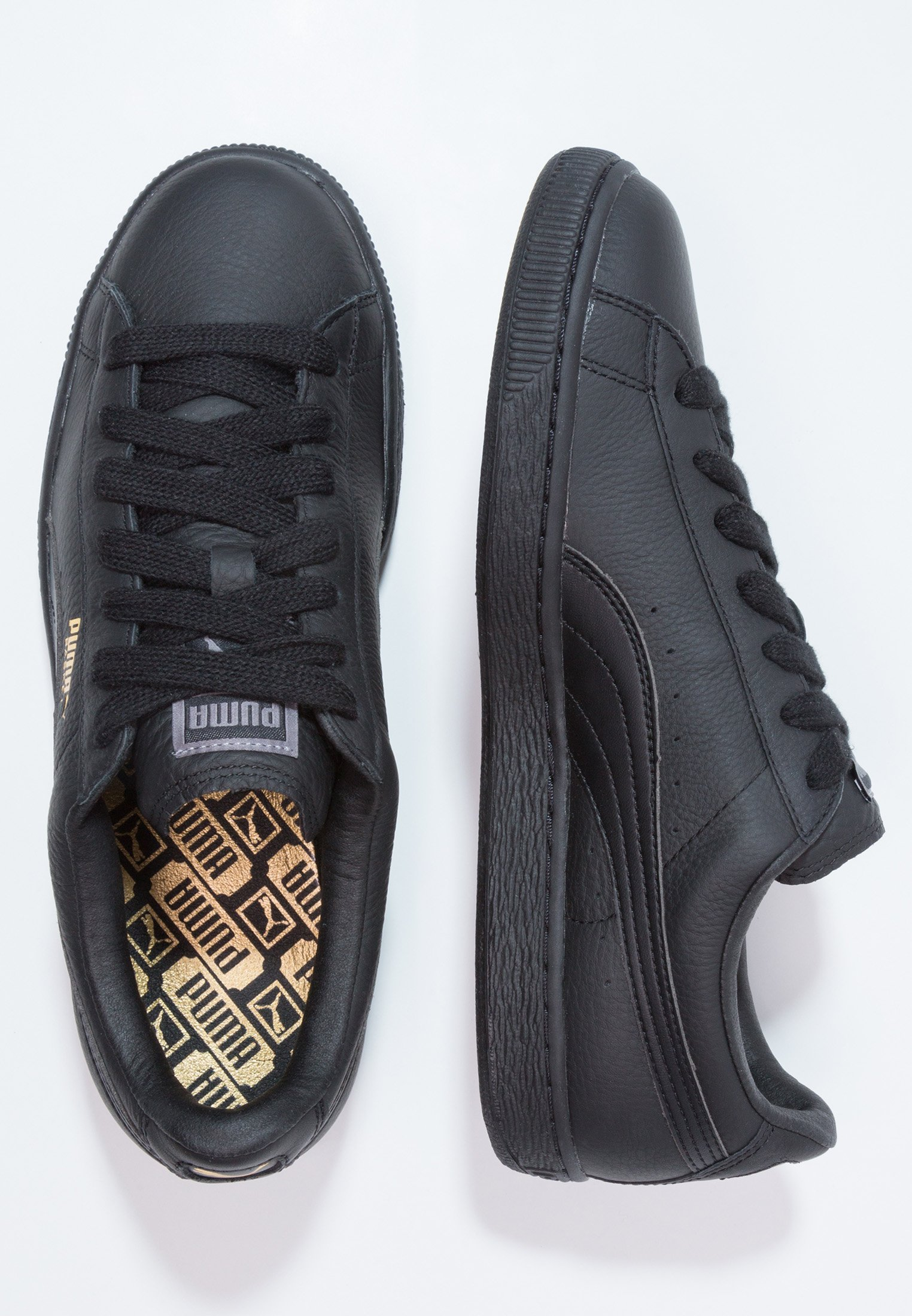 Puma BASKET CLASSIC - Sneakers basse - black/team gold